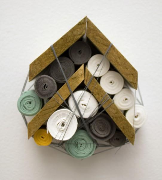 "Sarah Irvin, ""Quilt Series 9""  2015  Cotton quilting thread, salvaged wood, handmade cotton paper  3 x 4 x 1.5 in."
