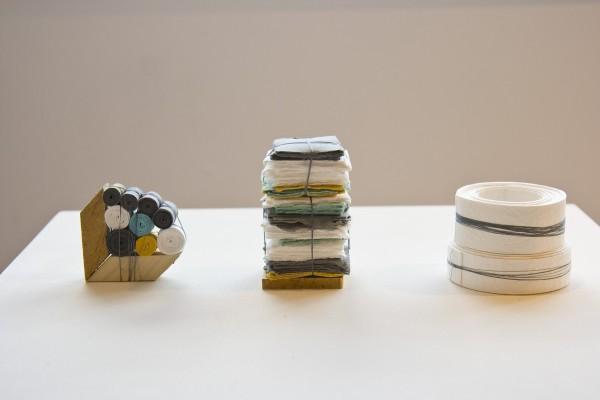 "Sarah Irvin, ""Quilt Series""  2015  Cotton quilting thread, salvaged wood, handmade cotton paper  12 x 5 x 3 in."