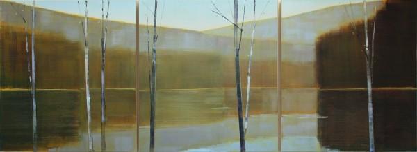 Stephen Pentak  2017, I,V, 2017  oil on birch panels  (triptych)  39 x 105 in.