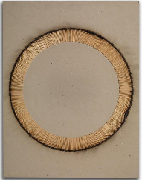 BERNARD AUBERTIN, Desin de Feu, 1974 Burnt matches on card 65 x 50 cm (25 5/8 x 19 3/4 inches) £6,800
