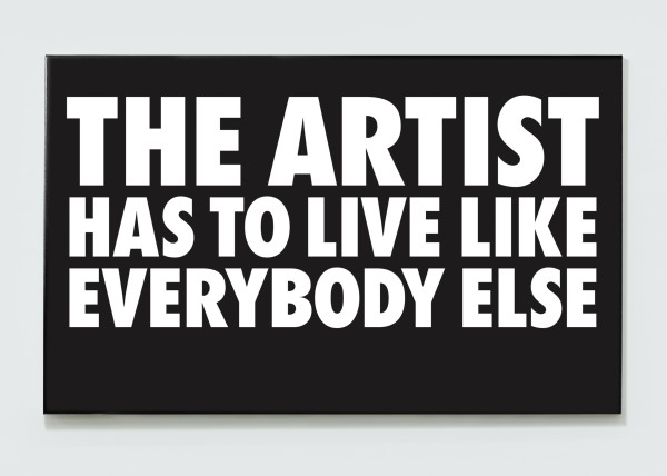 BILLY APPLE, The Artist Has to Live Like Everybody Else, 1985 / 2018 UV impregnated ink on canvas 100 x 161.8 x 3.5 cm 39 3/8 x 63 3/4 inches