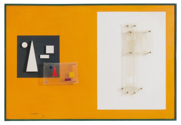 CARLOS CAIROLI, Temps-espaces complémentaires, 1955 Oil on board and Altuglas 75 x 100 cm 29 ½ x 13 ⅜ inches