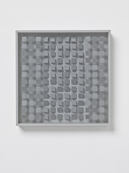 KLAUS STAUDT, Vertiefung EO35a GR (Deepening), 1977 Polystyrene, lacquered wood and Plexiglas 40 x 40 x 7 cm 15 ¾ x 15 ¾ 2 ¾ inches