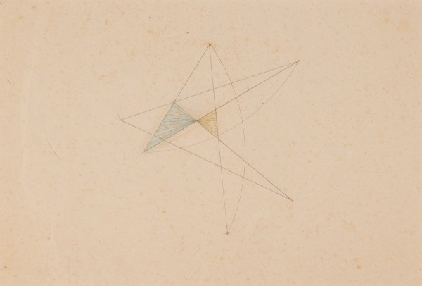 MARLOW MOSS, Untitled (Blue and yellow triangle), c. 1940s Pencil and crayon on paper 19.3 x 28.4 cm 7 ⅝ x 11 ⅛ inches