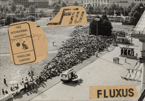 JOSEPH BEUYS, Fluxus (7,000 Oaks), c. 1982 Black and white photograph with paper collage 24 x 34 cm 9 ½ x 13 ½ inches