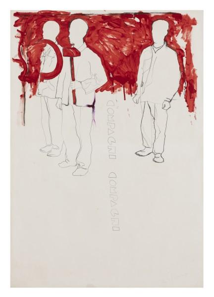 MARIO SCHIFANO, Compagni, compagni, 1968 Enamel and graphite on paper 100 x 70 cm 39 ⅜ x 27 ½ inches