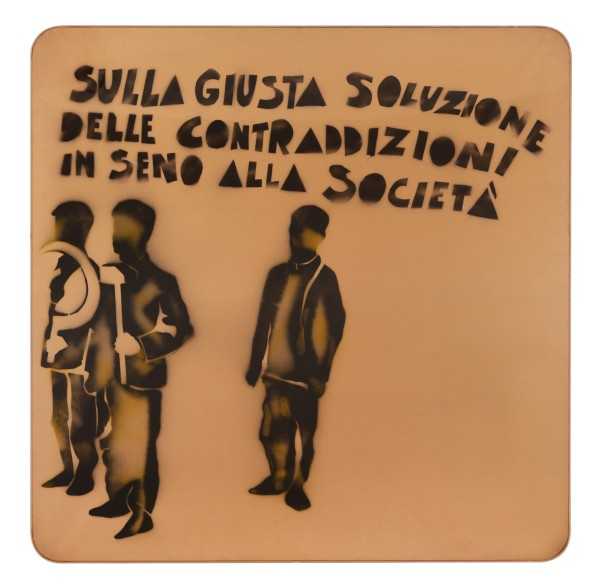 MARIO SCHIFANO, Compagni, compagni, 1968 Enamel and spray paint on canvas and Perspex 150 x 150 cm 59 ⅛ x 59 ⅛ inches