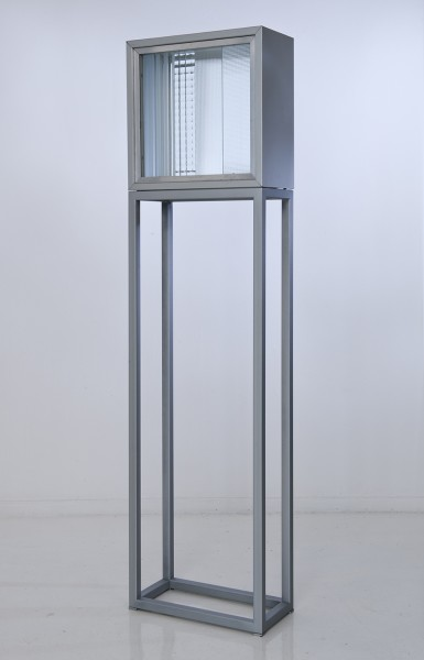NANDA VIGO, Cronotopo, 1964 Varnished tinplate and glass with aluminium base 40 x 40 x 20 cm 15 ¾ x 15 ¾ x 7 ⅞ inches Base Size: 116 x 40 x 20 cm 45 ⅝ x 15 ¾ x 7 ⅞ inches
