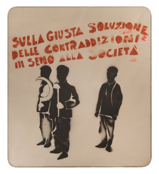 MARIO SCHIFANO Compagni, compagni, 1968 Enamel and spray paint on canvas and Perspex 160 x 140 cm 63 x 55 ⅛ inches