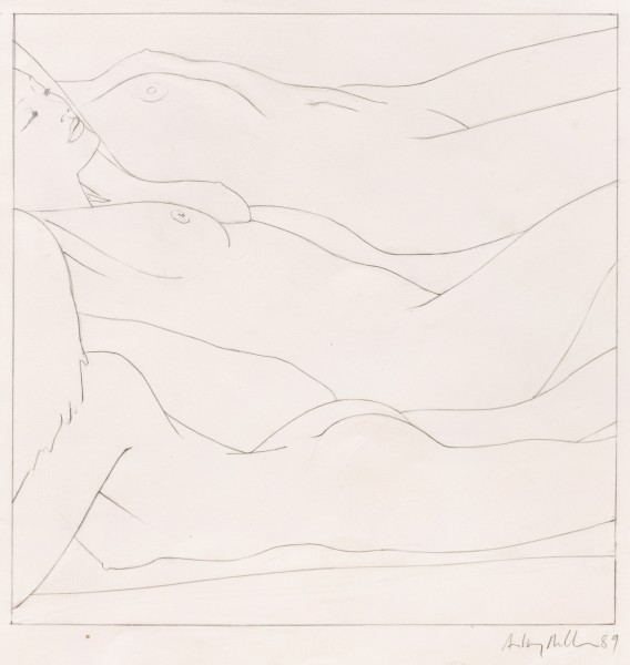 Three on a Beach, 1989 Pencil on paper 47 x 43 cm 18 ½ x 17 inches
