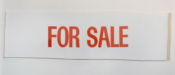 BILLY APPLE, FOR SALE (test strip), 1961 Letterpress on canvas 21.7 x 74.5 cm (8 1/2 x 29 3/8 inches)