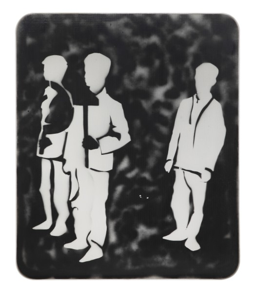 MARIO SCHIFANO, Compagni, compagni, 1968 Enamel and spray paint on canvas and Perspex 120 x 100 cm 47 ¼ x 39 ⅜ inches