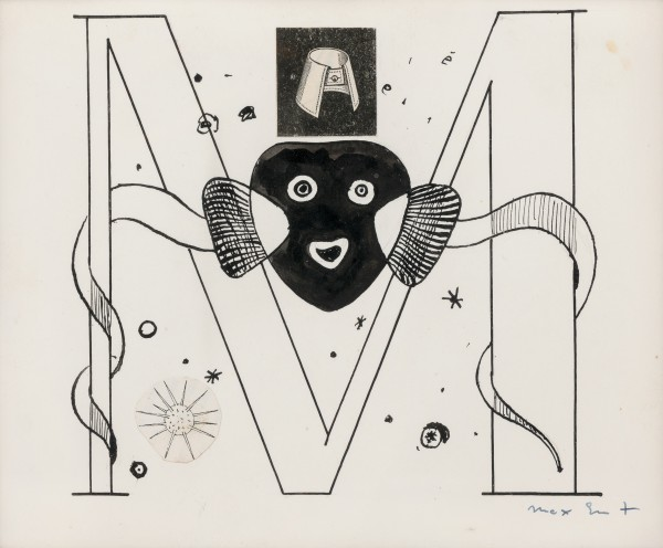 MAX ERNST, 'Initial M' Illustration for Benjamin Péret, La Brebis Galante, Paris, 1949, 1949 Collage, pen and Indian ink on paper 14.6 x 17.8 cm 5 ¾ x 7 inches