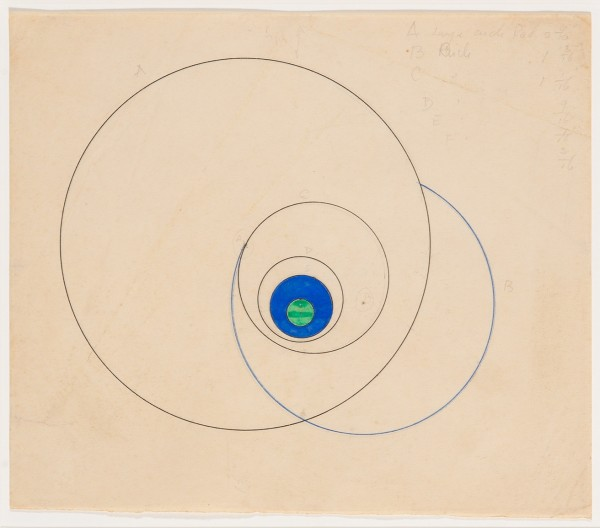 MARLOW MOSS, Untitled (Green and blue circle), c. early 1940s Pencil, ink and gouache on paper 17 x 20 cm 6 ⅝ x 7 ⅞ inches
