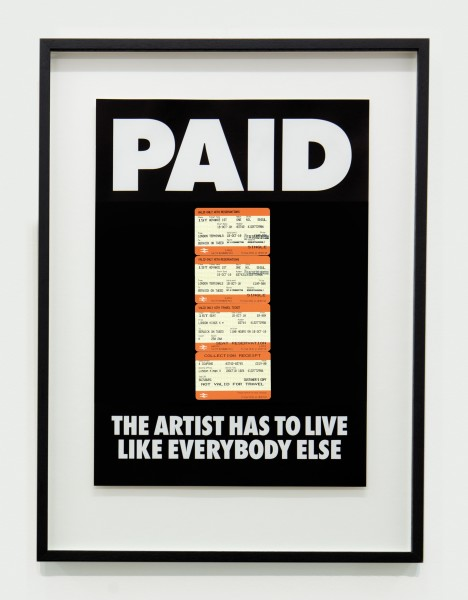 BILLY APPLE, PAID: The Artist Has to Live Like Everybody Else, 4 x British Rail tickets: £219 Kings X London to Berwick on Tweed 18 Oct 2010 Offset lithography on paper, 1987 / 2018