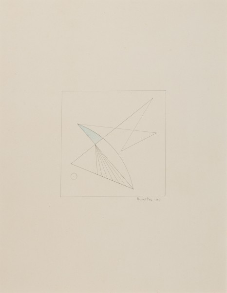 MARLOW MOSS, Untitled (blue triangle), 1947 Pencil and blue crayon on paper 35 x 28 cm 3 ¾ x 11 inches