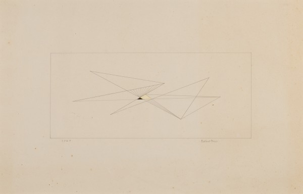 MARLOW MOSS, Untitled (Black and yellow triangle), 1947 Ink and gouache on paper 26 x 40 cm 10 ¼ x 15 ¾ inches