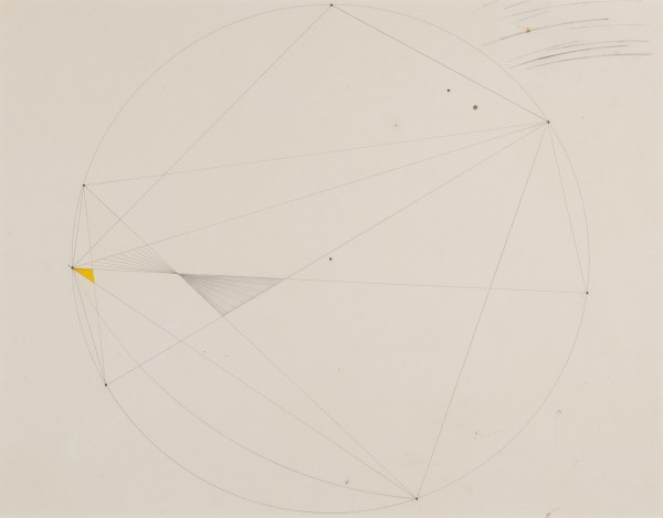 MARLOW MOSS, Untitled (Yellow triangle), c. 1940s Untitled (Yellow triangle), c. 1940s Pencil and crayon on paper 28 x 35.5 cm 11 x 14 inches