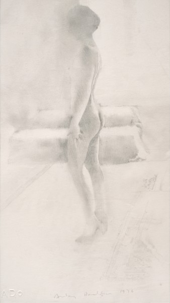 In front of the window, 1975 Pencil on paper 41 x 21 cm 16 ⅛ x 8 ¼ inches