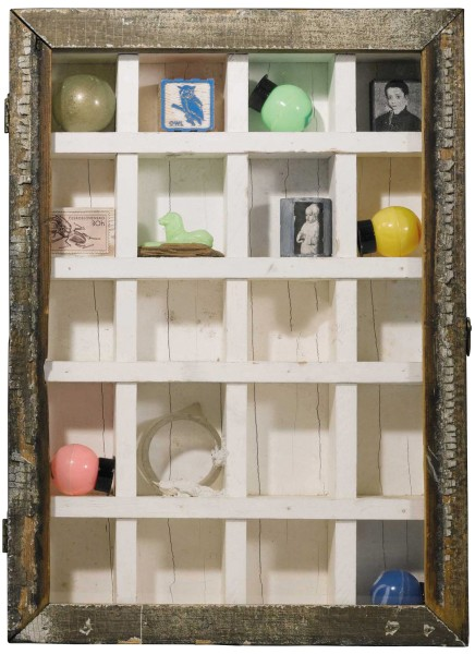 JOSEPH CORNELL, Untitled, 1954 Painted wood and glass box construction with plastic balls, painted and collaged wood blocks, glass and plastic elements 38 x 27.3 x 6.4 cm 15 x 10 ¾ x 2 ½ inches