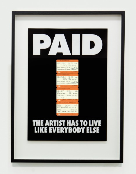 BILLY APPLE, PAID: The Artist Has to Live Like Everybody Else, 4 x British Rail tickets: £178 Berwick on Tweed to Kings X London 24 Oct 2010, 1987 / 2018