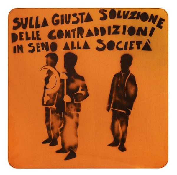 MARIO SCHIFANO, Compagni, compagni, 1968 Enamel and spray paint on canvas and Perspex 140 x 140 cm 55 ⅛ x 55 ⅛ inches