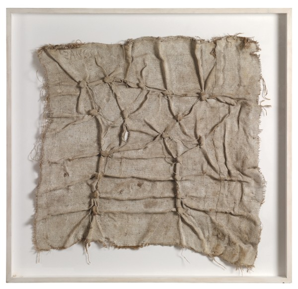 HERBERT ZANGS, Jutes-Knottings, c.1978 Pebbles knotted with string in jute fabric, whitened 77 x 80 x 3 cm 30 ⅜ x 31 ½ x 1⅛ inches
