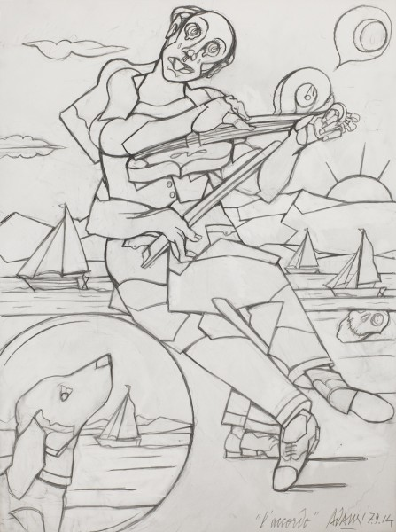 VALERIO ADAMI L'accordo, 2014 Graphite on paper 47.5 x 36 cm (18 3/4 x 14 1/8 in) £8,000