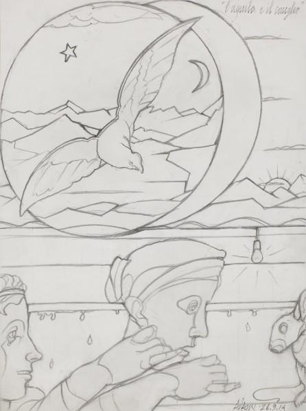 VALERIO ADAMI L'aquila e il coniglio, 2014 Graphite on paper 47.5 x 36 cm (18 3/4 x 14 1/8 in) £8,000