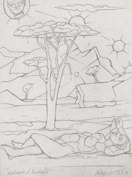 VALERIO ADAMI Aspettando il tramonto, 2014 Graphite on paper 47.5 x 36 cm (18 3/4 x 14 1/8 in) £8,000