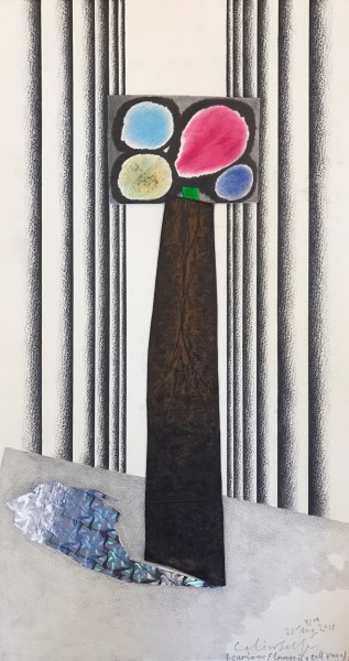 COLIN SELF Curious Flowers on a table (shadows & folded drape curtains), 2015 Collage 57.5 x 30.5 cm (22 5/8 x 12 in) £7,000