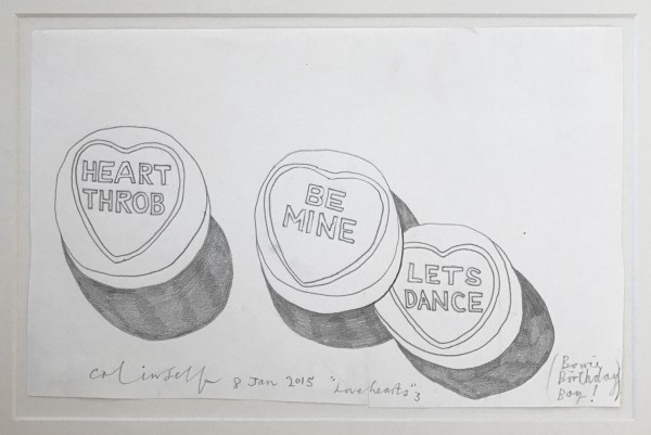 COLIN SELF Lovehearts, Bowie - Birthday boy (No.3), 2015 Graphite on paper 25 x 40 cm (10 x 15 3/4 ins) £3,500