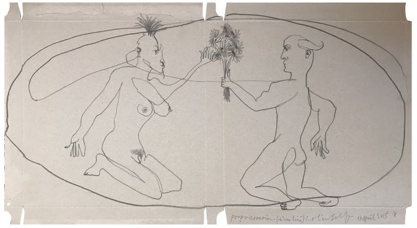 COLIN SELF Propriasension (No.8) Kneeling man offering flowers to a kneeling circus woman, 2015 Graphite on card 58 x 31 cm (22 9/8 x 12 1/4 in) £4,000