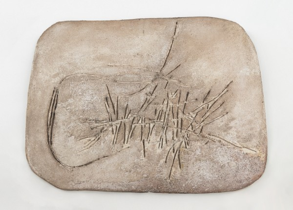 ROBERT MALLARY, Untitled, 1957-1958 Mixed media: Resin mix on fibrous board 43 ½ x 56 ½ x 2 ½ in 110.5 x 143.5 x 6.4 cm
