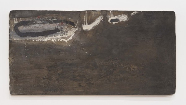 ROBERT MALLARY, Untitled, 1957-1958 Mixed media: Found materials, resin mix and pigment on wooden board 36 ½ x 70 ¾ x 1 ¼ in 92.8 x 179.7 x 3.2 cm