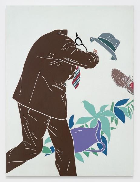 L'uomo dell'organizzazione. L'uscita dall'Eden / The Man of the Organisation. The Exit from Eden 1968 Acrylic on canvas 51 1/8 x 38 1/8 inches (130 x 97 cm)