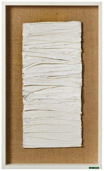 ENEA FERRARI, Untitled, 1954 White painted corn bracts 50 x 23 x 1 cm 19 ⅝ x 9 ⅛ x ⅜ inches