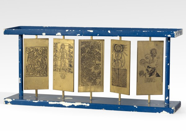 STANO FILKO, Model of a Sculpture, 1976-1977 Printed brass plates, painted metal 29 x 65 x 15 cm 11 ⅜ x 25 ⅝ x 5 ⅞ inches