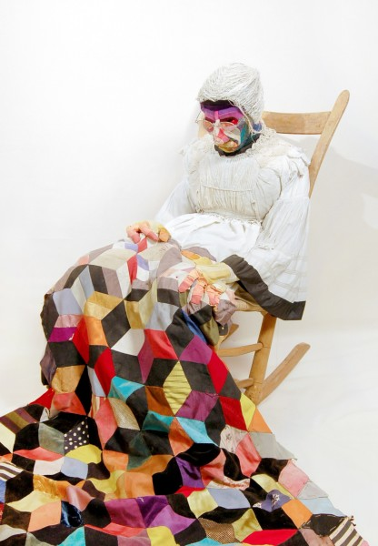 JANN HAWORTH, Old Lady II, 1967 Fabric, thread, wood, stuffing, leather and rocking chair 102 x 98 x 51 cm 40 ⅛ x 38 ½ x 20 inches