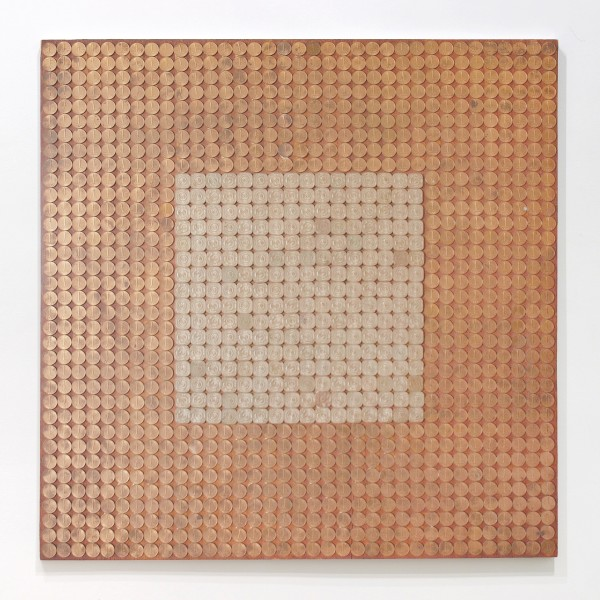 JAN HENDERIKSE, Untitled, 1969 Coins on panel 23 3/4 x 23 3/4 inches (60 x 60 cm)