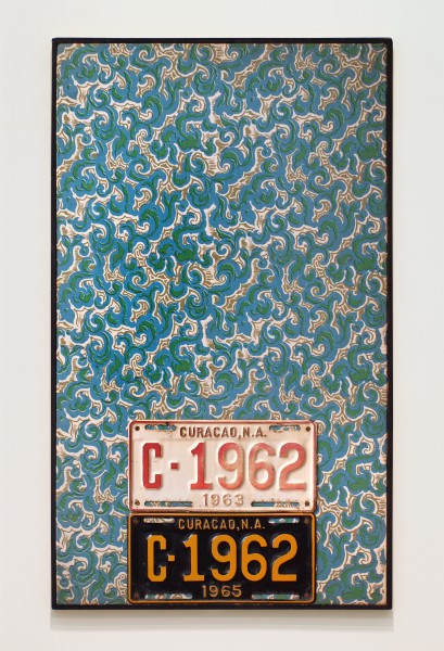 JAN HENDERIKSE, PP 18-C, 1966 License plates on fabric on panel 37 1/2 x 21 3/4 inches (95 x 55 cm)