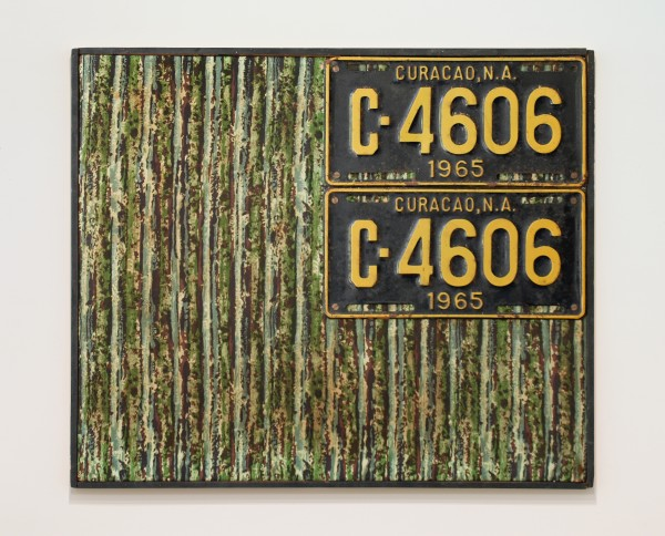 JAN HENDERIKSE, PP 10 A, 1968 License plates on fabric on panel 19 3/4 x 23 3/4 inches (50 x 60 cm)