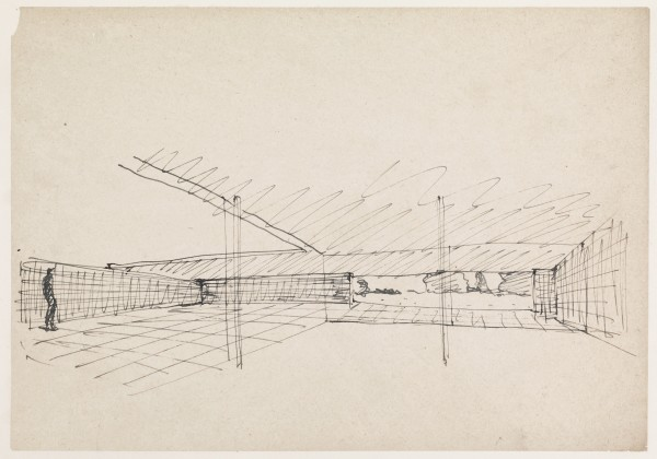 MIES VAN DER ROHE, Hubbe House (Interior), 1935 Ink on paper mounted on board 21 x 30 cm 8 ¼ x 11 ¾ inches