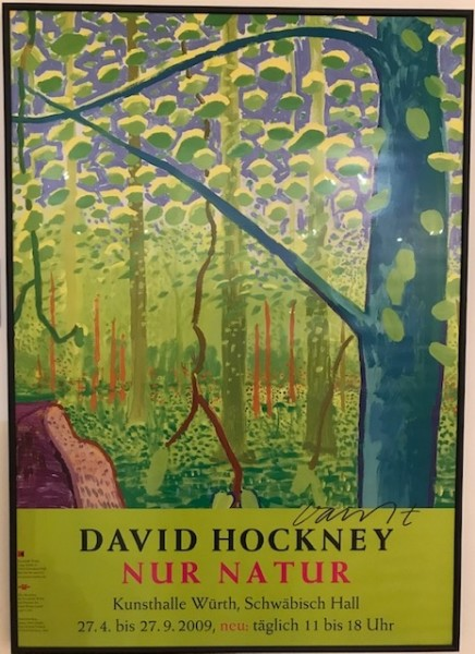 David Hockney, Hand Signed David Hockney Original Poster 'Nur Natur', 2009