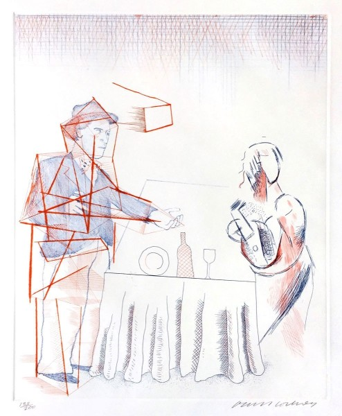 "David Hockney, Figures with Still Life (from ""The Blue Guitar"" portfolio), 1976-77"