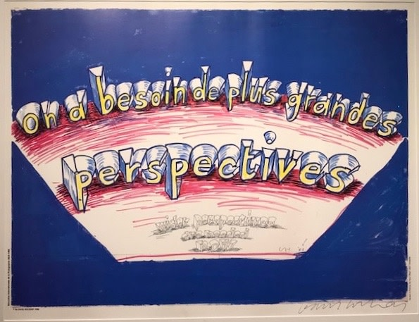 David Hockney, Hand Signed David Hockney Original Poster 'On a besoin de plus grandes perspectives' (Wider perspectives are needed now)., 1985