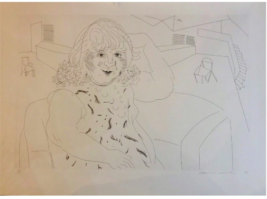 David Hockney, David Hockney Lithograph 'Anne in the Studio' for sale, 1984