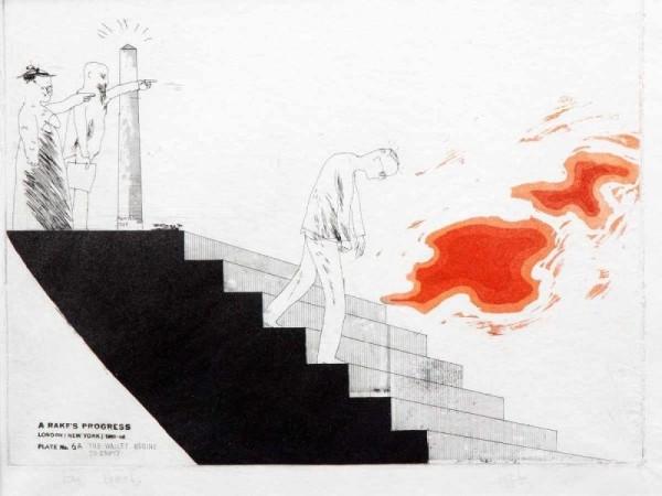 David Hockney, David Hockney Etching & Aquatint 'The Wallet Begins to Empty' for Sale, 1961