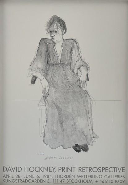 David Hockney, Hand Signed 'David Hockney, Print Retrospective', 1984