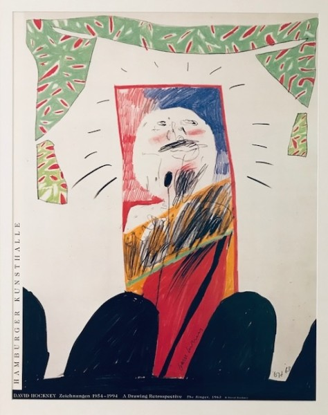 David Hockney, Hand Signed David Hockney Original Poster 'The Singer' Hamburger Kunsthalle', 1994